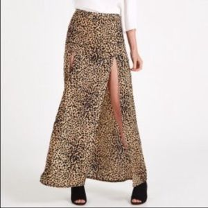 Cheetah Double Slit Maxi Skirt